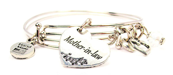mother in law bracelet, mother in law jewelry, heart bracelet, mother bracelet, family member jewelry