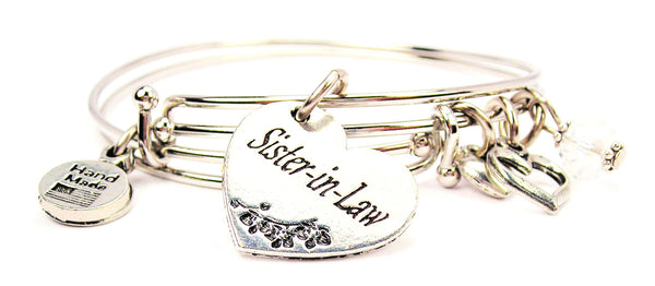 sister in law bracelet, sister bangles, sister jewelry, love bracelet, family jewelry, heart bracelet