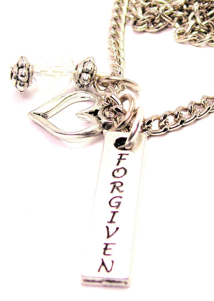 Forgiven Long Tab Necklace with Small Heart