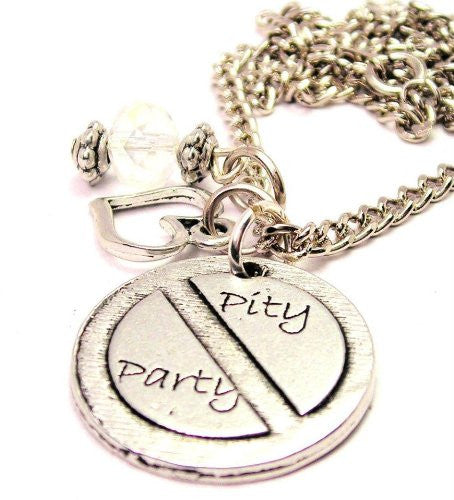 No Pity Party Necklace with Small Heart