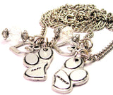 Set Of 2 Best Friends Paw Prints Necklace with Small Heart