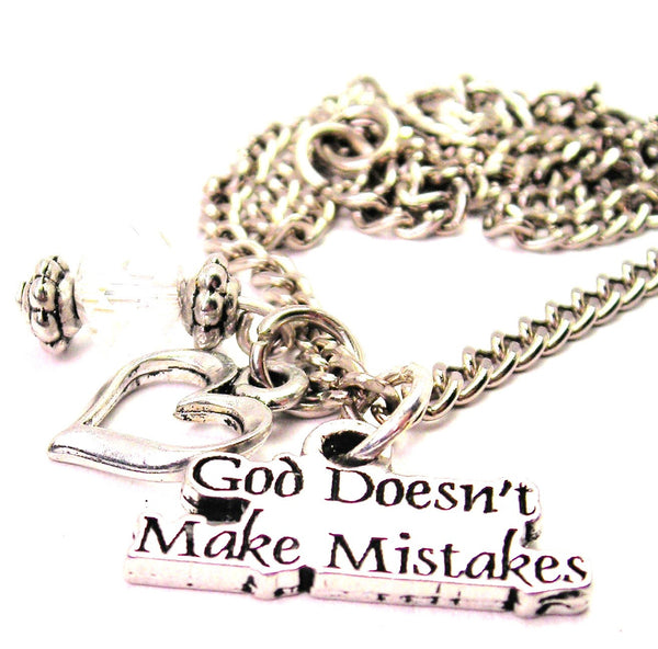 God Doesn't Make Mistakes Necklace with Small Heart