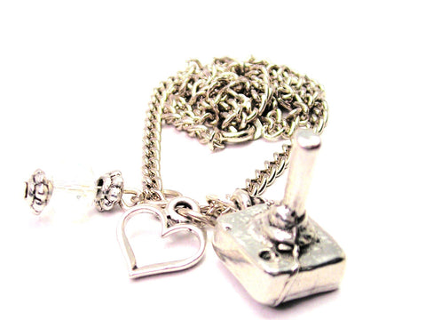 3D Joystick Necklace with Small Heart
