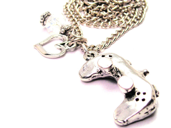 3D Video Game Controller Necklace with Small Heart
