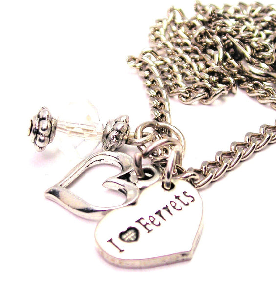 I Love Ferrets Heart Necklace with Small Heart