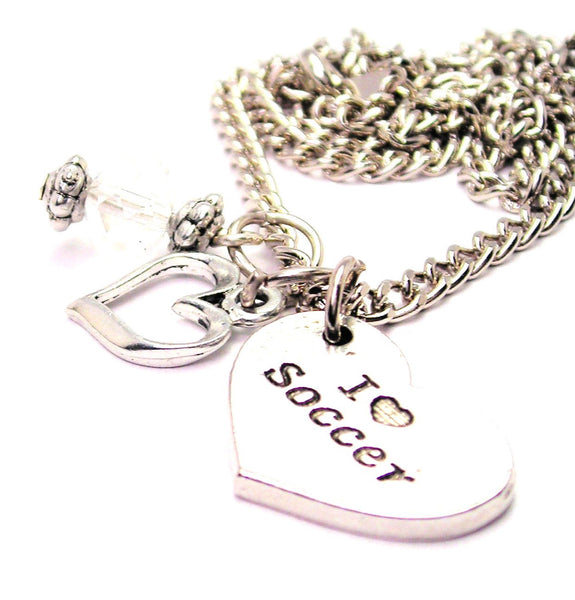 I Love Soccer Heart Necklace with Small Heart