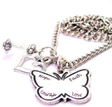Hope Faith Style_Love Courage Butterfly Necklace with Small Heart