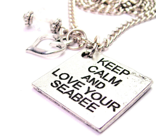 Keep Calm And Love Your Seabee Necklace with Small Heart