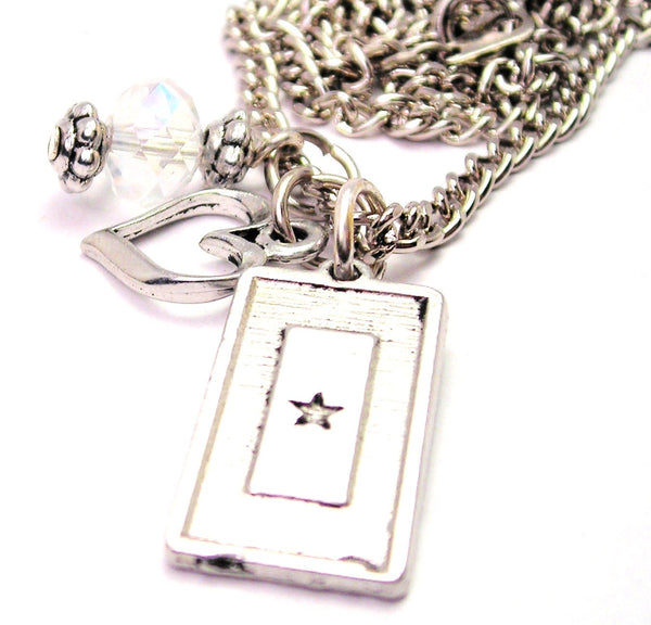 Blue Star Mother Military Flag Necklace with Small Heart