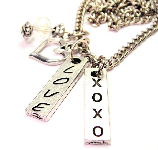 Love Xoxo Long Tab Necklace with Small Heart