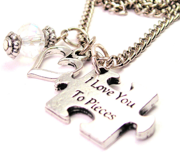 I Love You To Pieces Autism Puzzle Piece Necklace with Small Heart