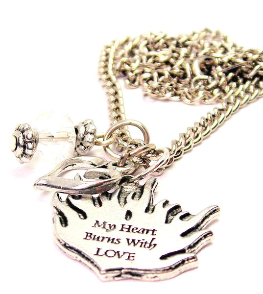 My Heart Burns With Style_Love Necklace with Small Heart
