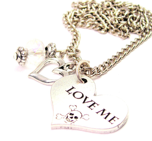 Love Me With Skull And Crossbones Necklace with Small Heart