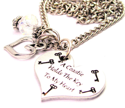 A Coastie Holds The Key To My Heart Necklace with Small Heart