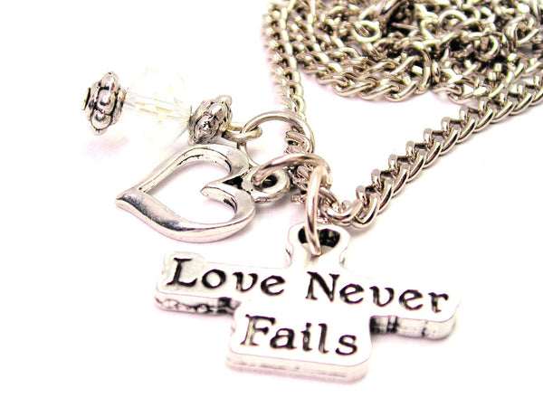 Love Never Fails Necklace with Small Heart