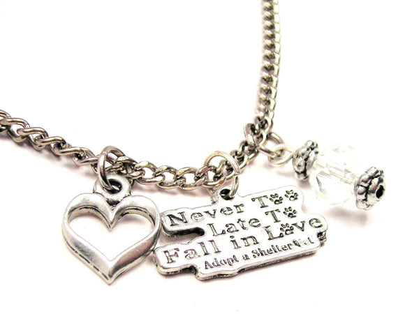 Never Too Late To Fall In Style_Love Adopt A Shelter Pet Necklace with Small Heart