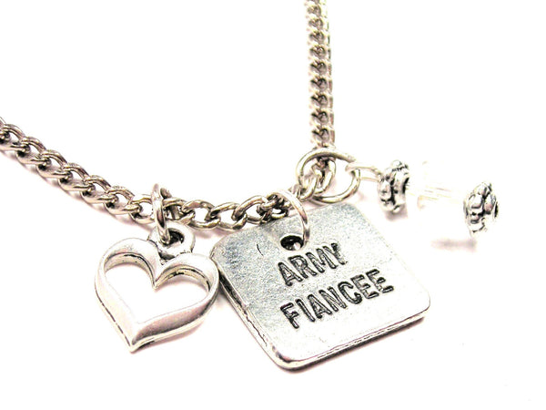 Army Fiancée Necklace with Small Heart