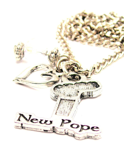 New Pope Smoke Stack Necklace with Small Heart