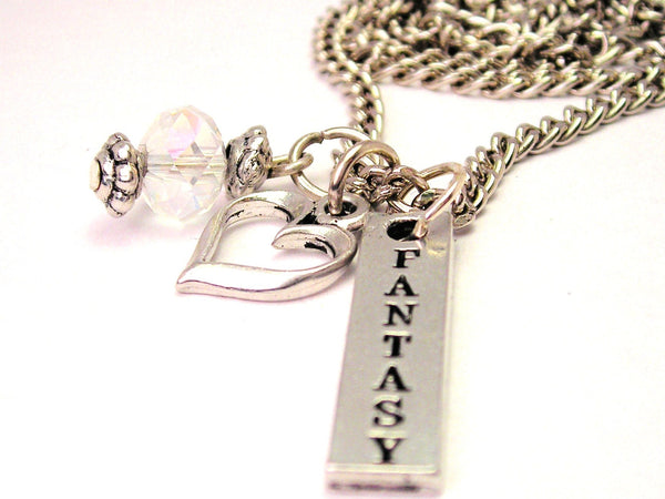 Fantasy Long Tab Necklace with Small Heart