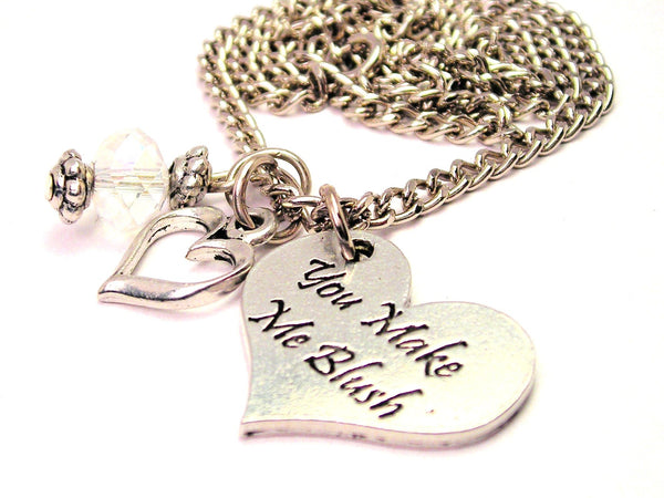 You Make Me Blush Heart Necklace with Small Heart