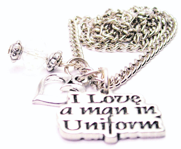 I Style_Love A Man In Uniform Necklace with Small Heart