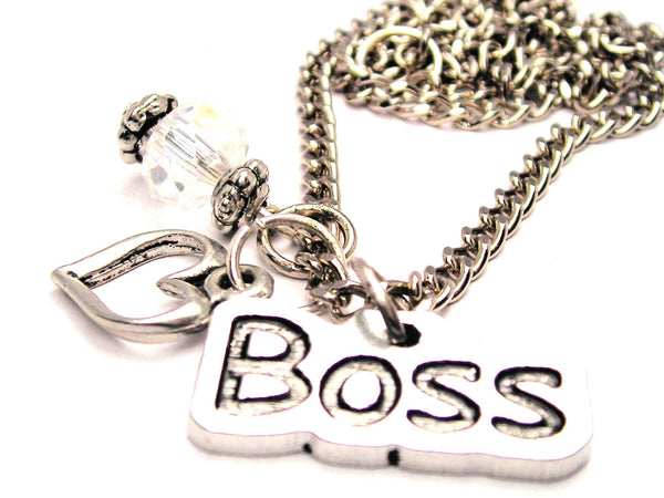 Boss Necklace with Small Heart