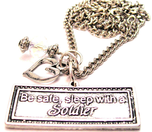 Be Safe Sleep With A Soldier Necklace with Small Heart