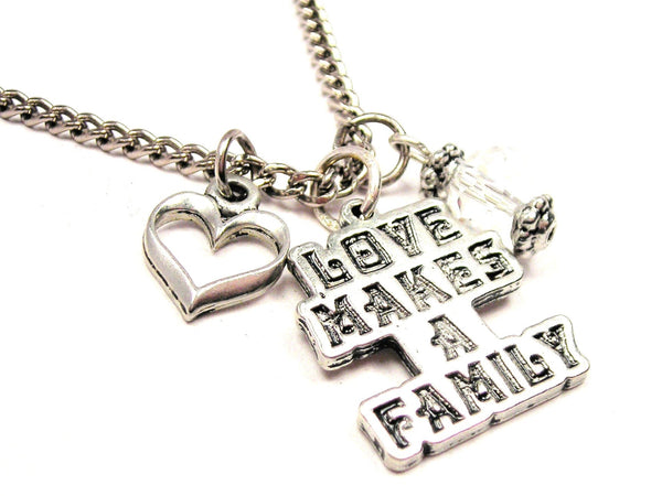 Love Makes A Family Necklace with Small Heart