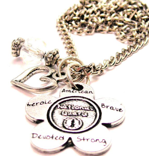 The National Guard Flower Small Necklace with Small Heart