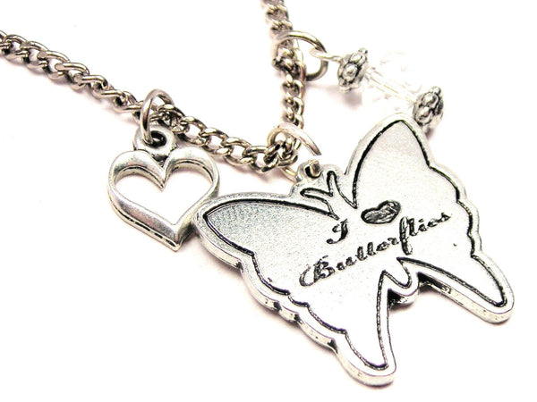 I Style_Love Butterflies Butterfly Necklace with Small Heart