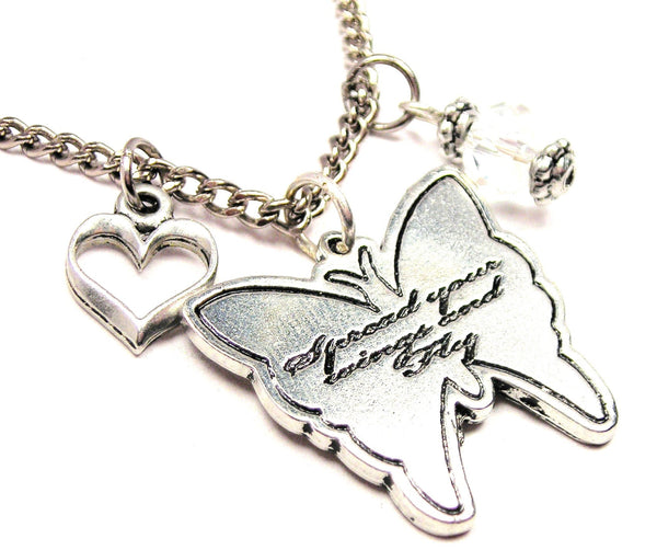 Spread Your Wings And Fly Butterfly Necklace with Small Heart