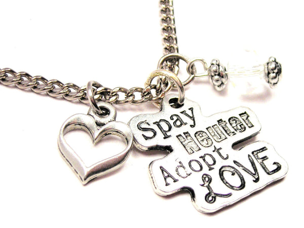 Spay Neuter Adopt Style_Love Necklace with Small Heart