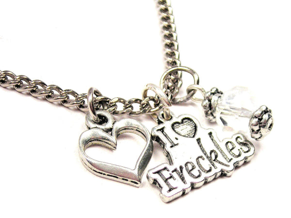 I Love Freckles Necklace with Small Heart