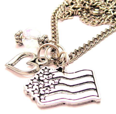Abstract American Flag Necklace with Small Heart