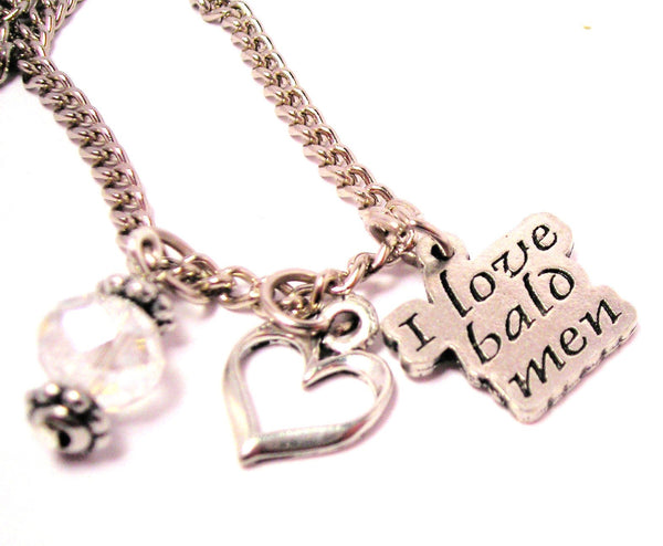 I Style_Love Bald Men Necklace with Small Heart