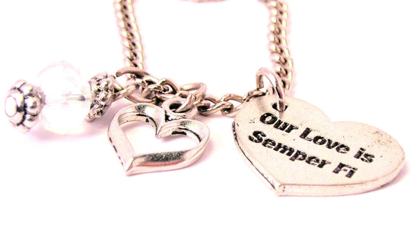 Our Style_Love Is Semper Fi Heart Necklace with Small Heart