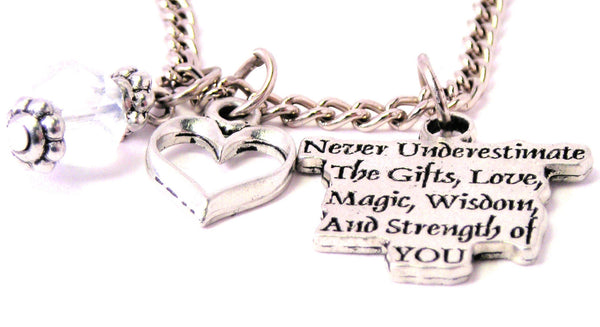 Never Underestimate The Gifts Style_Love Magic Wisdom And Strength Of You Necklace with Small Heart