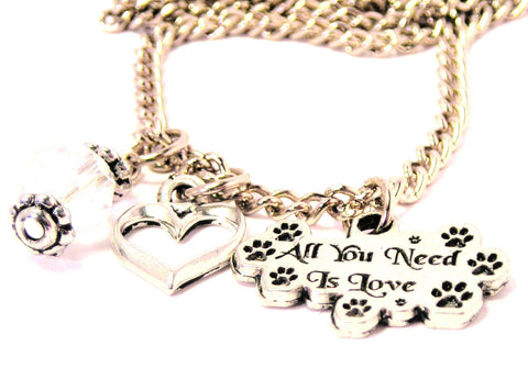 All You Need Is Love With Paw Prints Necklace with Small Heart