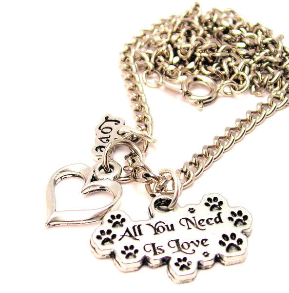 Paw Prints All You Need Is Love Little Love Necklace