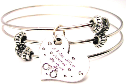 A Police Officer Arrested My Heart Triple Style Expandable Bangle Bracelet