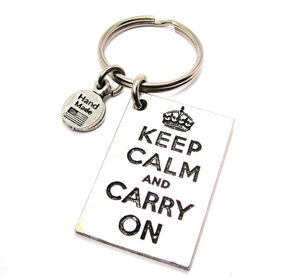 Keep Calm And Carry On Square Key Chain