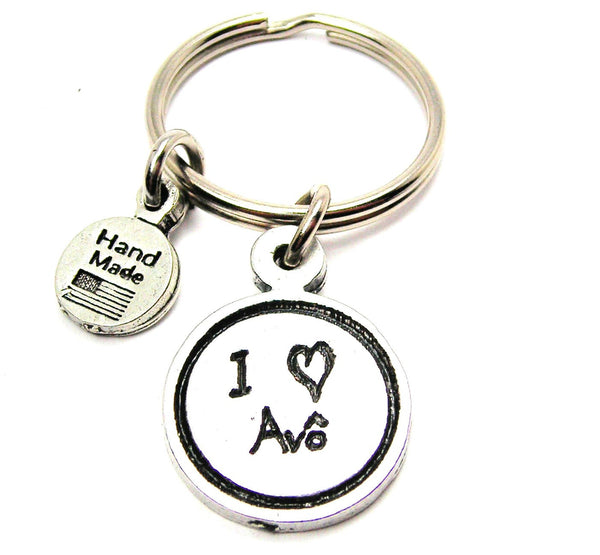 I Love Avô Grandfather Child Handwriting Key Chain