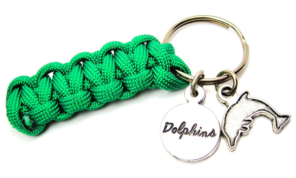 Dolphin With Dolphins Circle Paracord 550 Military Spec Paracord Key Chain