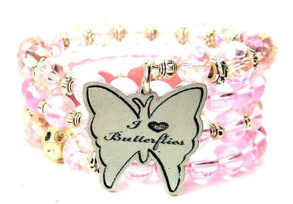 I Love Butterflies Multi Wrap Bracelet