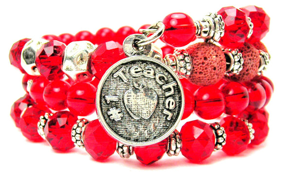 #1 Teacher Circle Multi Wrap Bracelet