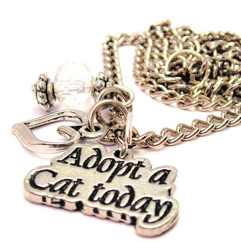 Adopt A Cat Today Necklace with Small Heart