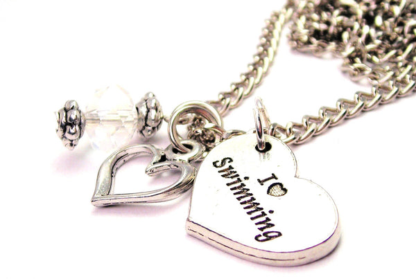 I Love Swimming Necklace with Small Heart