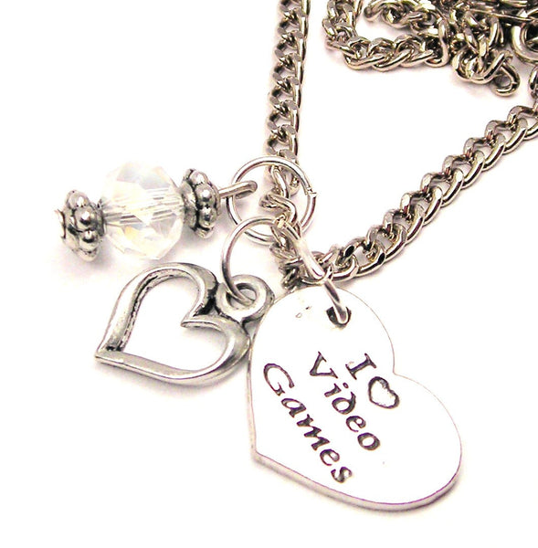 I Love Video Games Necklace with Small Heart