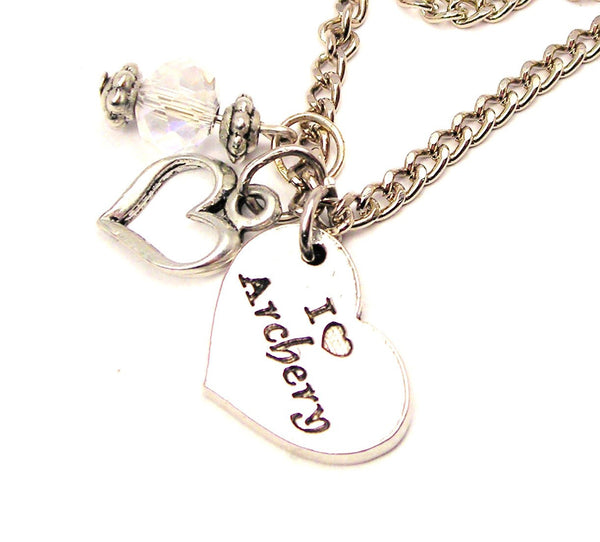 I Style_Love Archery Heart Necklace with Small Heart