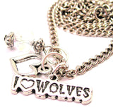 I Love Wolves Necklace with Small Heart